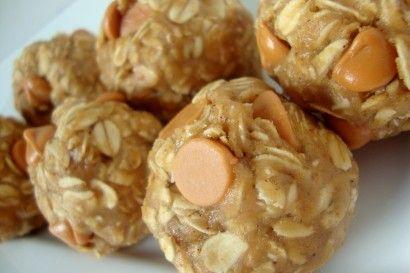 No-bake PB oatmeal balls.: Pb Oatmeal, Chocolates Chips, Oatmeal Ball, Eggs Free, Peanut Butter Oatmeal, Oatmeal Butterscotch, Butterscotch Cookies, Ball Eggs Fre, Dough Ball