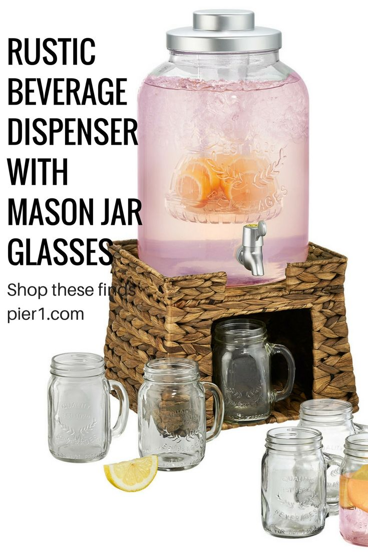 I love this rustic looking beverage dispenser from pier1. Perfect for outdoor bbq's, parties, weddings and events. Great for just about any gathering. #affiliate #rustic #beverages #masonjar #wedding #outdoor #party  #bbq #rusticweddings #barnweddings #events #holidays #countrywedding #birthdays