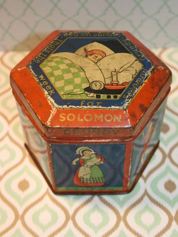 Birrell's of Glasgow toffee tin with Solomon Grundy by Tinternet