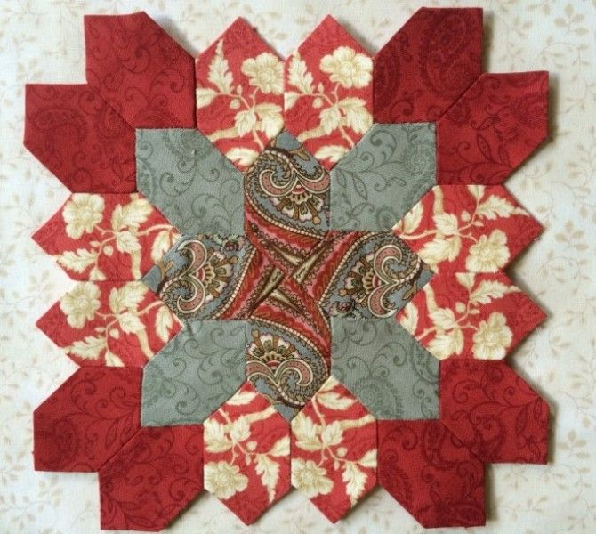 "POTC Block 1 by Carolyn.  Made from  ""Pheasant Run"" fabric line by Little Quilts."