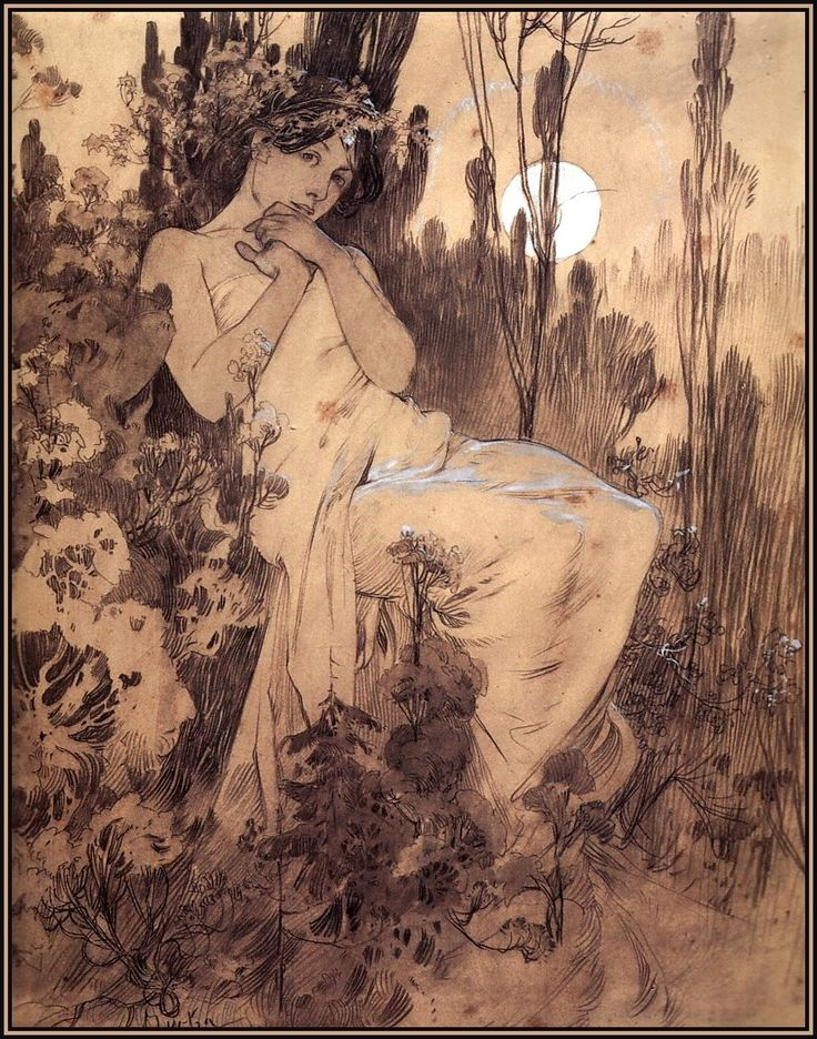 Sketch by Alphonse Mucha   cool images   Pinterest