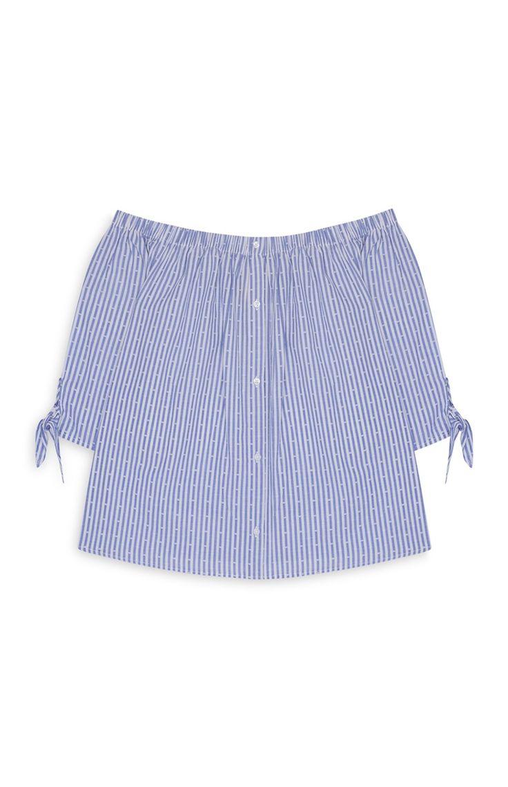 Primark - Blue Stripe Ruffle Bardot Top