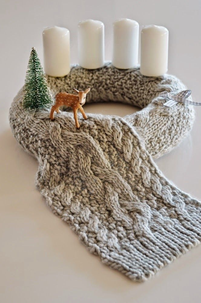 christmas, advent, wreath, knitted, reindeer, white candle, diy