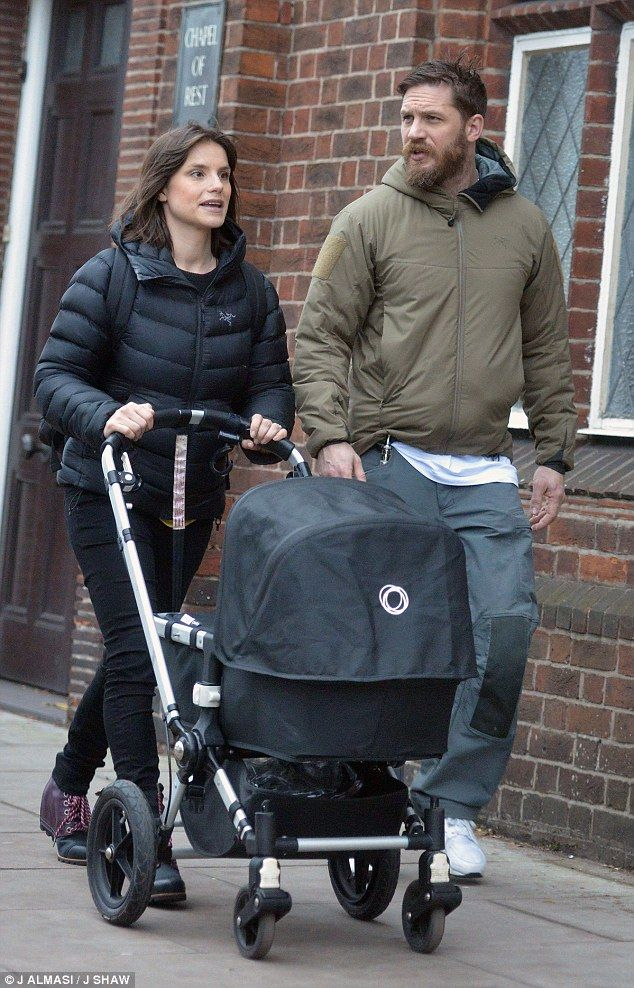 Tom Hardy spotted enjoying daddy duties with wife Charlotte Riley   Daily Mail Online - Nov. 15th 2015