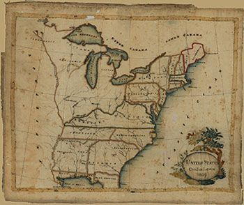 Material History 1809 Sampler Sched By Cecilia Lewis Shows Us States Indians On Map