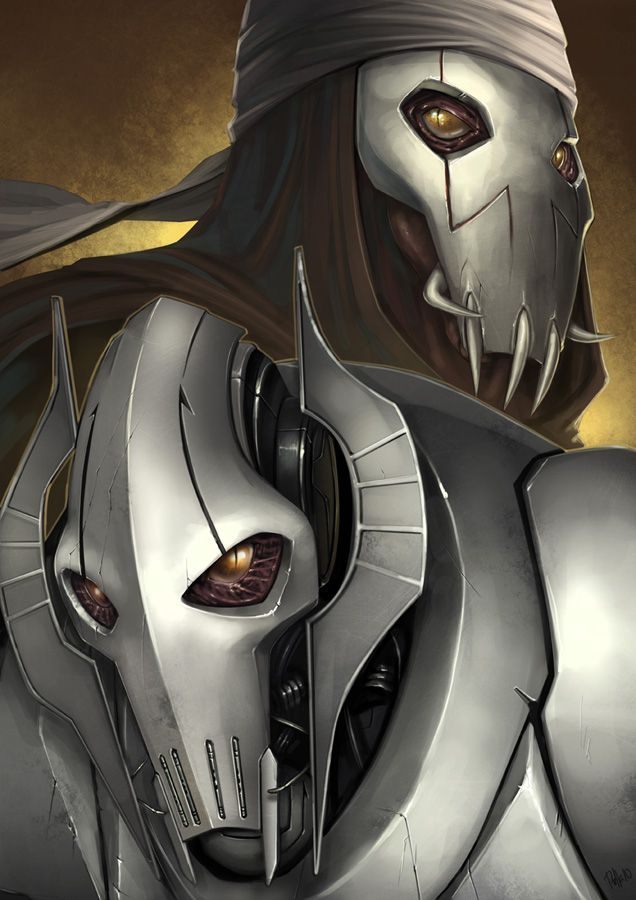 Before and after fan art of General Grievous.