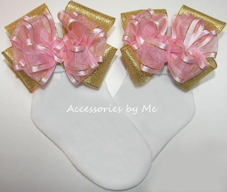 Pink Gold Bow Socks Organza Metallic Trim Baby Girls 1st Birthday Party Holiday #AccessoriesbyMe
