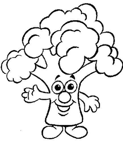 Güler yüzlü borokoli - okul öncesi çocuklar için boyama sayfası.