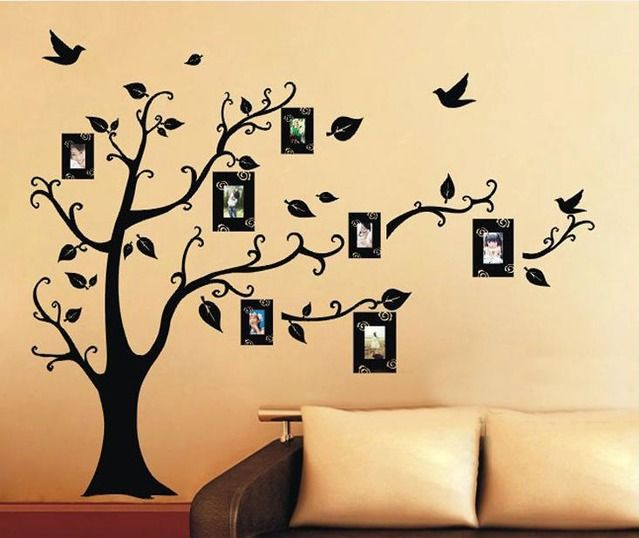 Home Decor Photo Frame Black Tree Removable Decal Room Wall Sticker Vinyl  Art. Hot Home Decor Virtul Photo Frame Black Tree Wall Sticker Removable  Decal ...