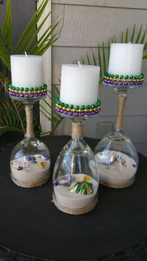 Mardi Gras Kopf Glas Wein Kerzenhalter Set Weinglas Kerzenhalter