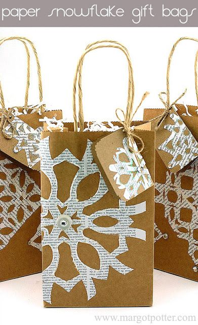 iLoveToCreate Blog: How to Make Paper Snowflakes Embellished Gift Bags