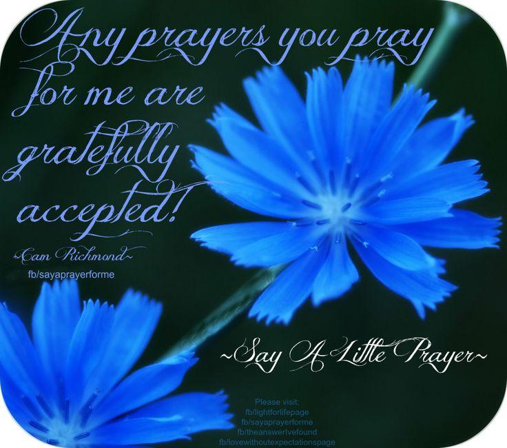 Any prayers you pray for me are gratefully accepted... ~Cam Richmond~ More at: https://www.facebook.com/sayaprayerforme http://lightforlifewordpress.wordpress.com/