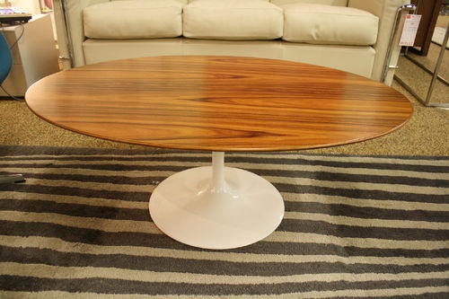 Saarinen Low Oval Coffee Table White Base Rosewood Knoll Modern Dwr Oval Coffee Tables