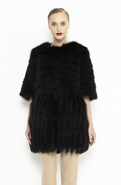 Black fox fur vest for women
