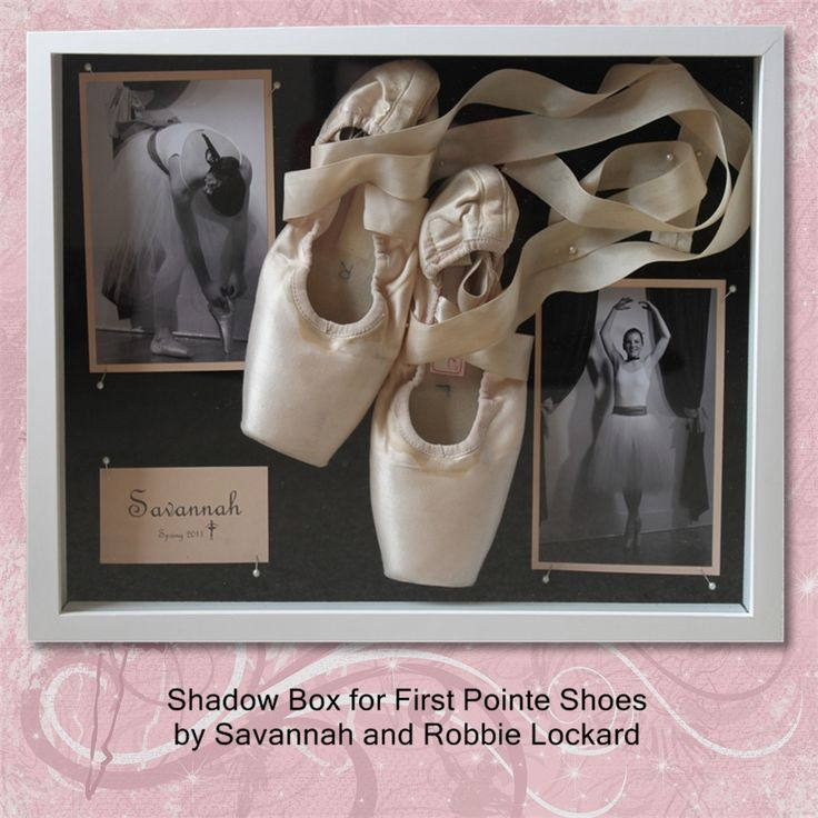 First pair of Pointe Shoes Shadow Box. I wish I had had one of these 3 years ago, I couldn't even tell you which one were my first. expect, the shoe in this picture don't look dead enough. haha