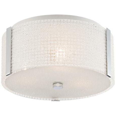 "Possini Euro Winfall 13"" Wide White Glass Ceiling Light -"