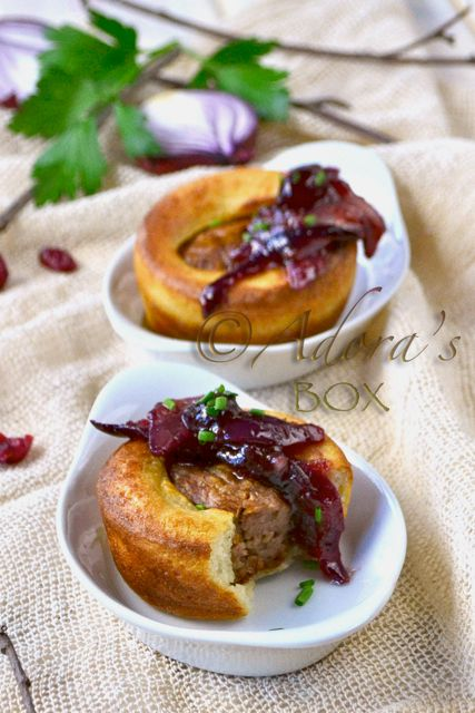 mini toad-in-a-hole with cranberry and onion chutney