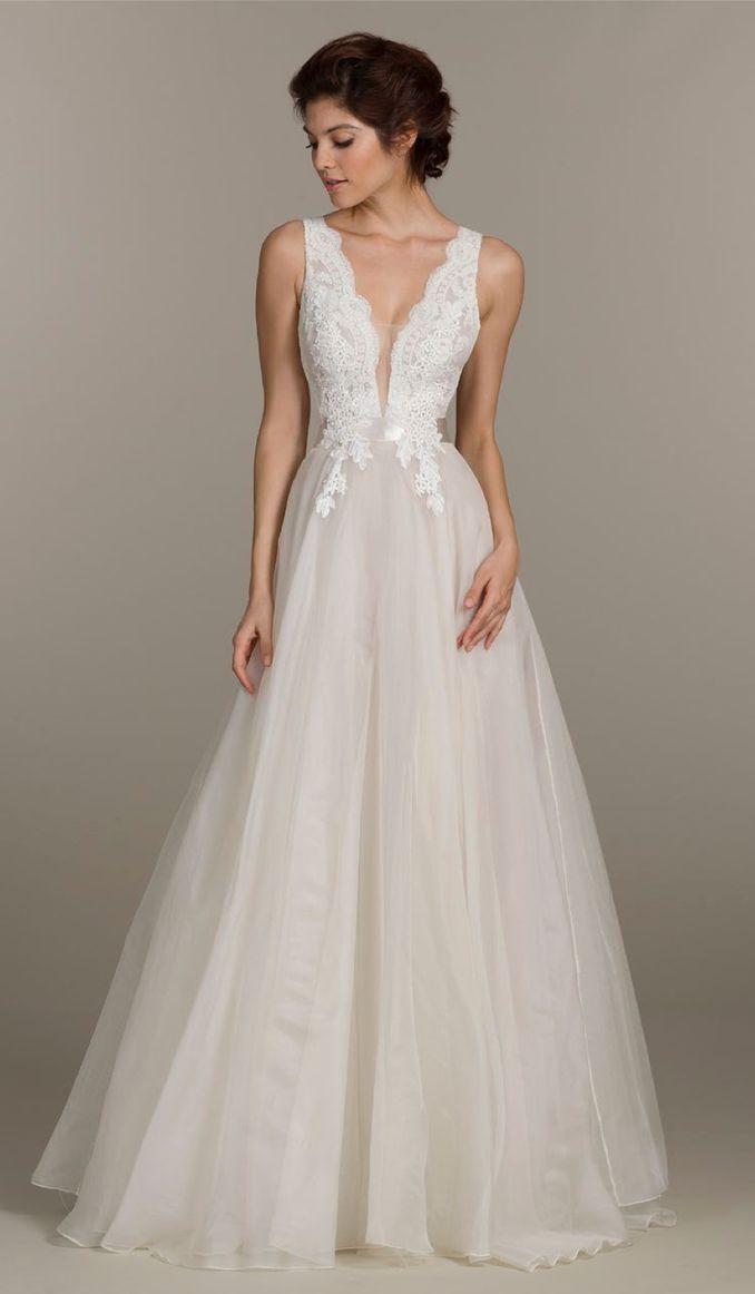 MARIA - A-line V-neck Court train Organza Wedding dress