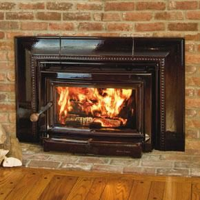 "Clydesdale wood fireplace insert - soapstone/cast iron - matte black, brown enamel or blue black  - 79% efficiency - 22"" log length"