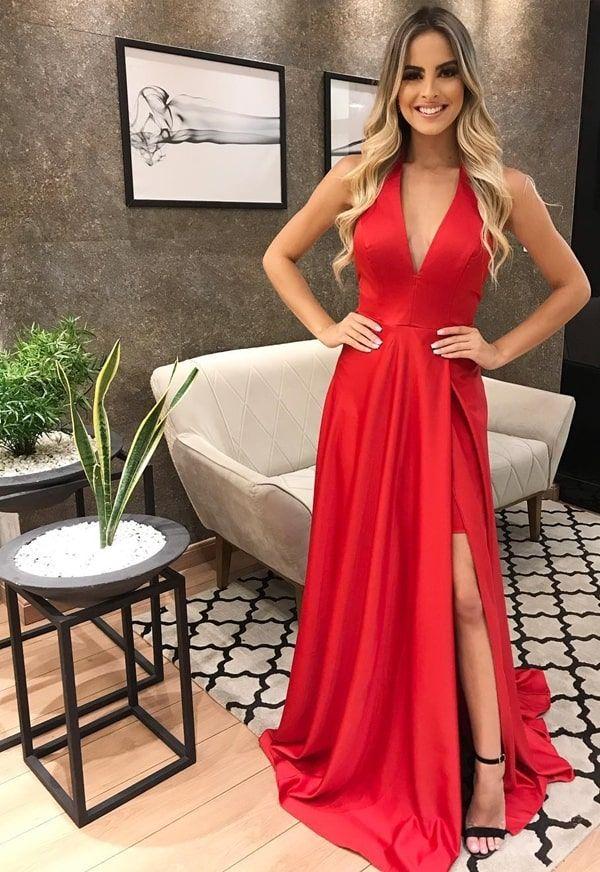 8acd37c85 vestido longo vermelho fluido com fenda para madrinha | Dresses in ...