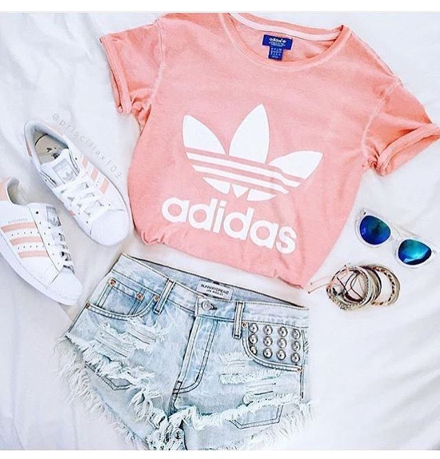 Peachy pink adidas- T w/ pink adidas, distressed shorts