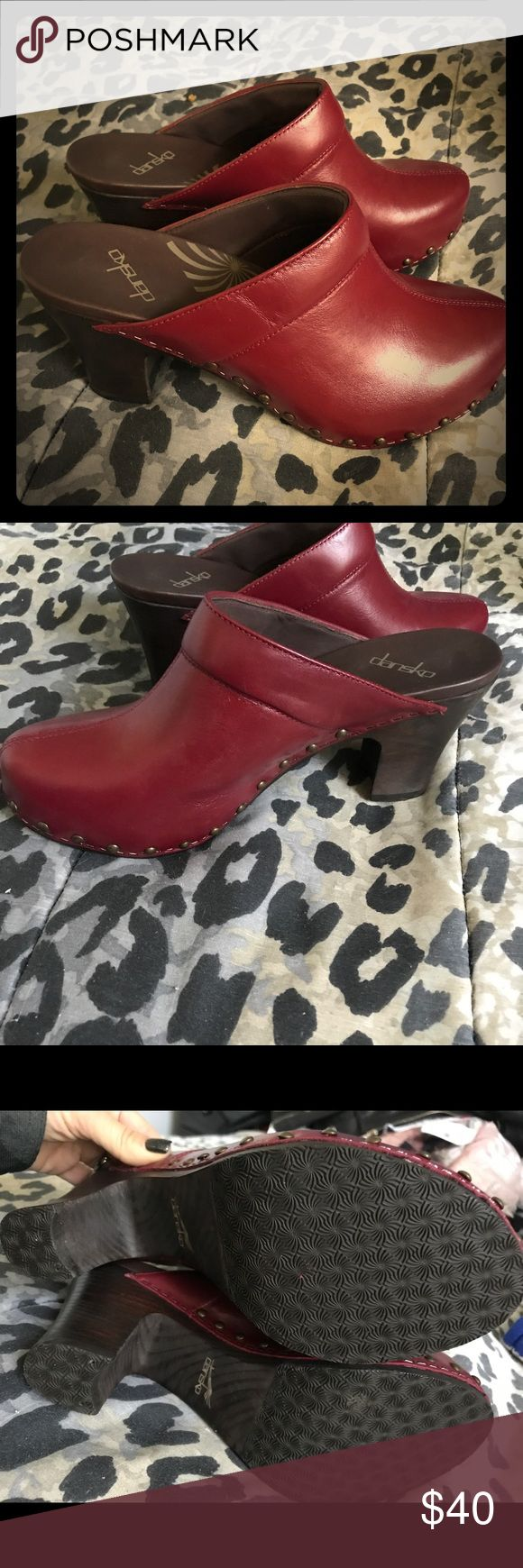 Flash Sale! NWOB Dansko leather mules red size 10 New without box, deep red genuine leather Dansko mules in size 40 (10) Dansko Shoes Mules & Clogs