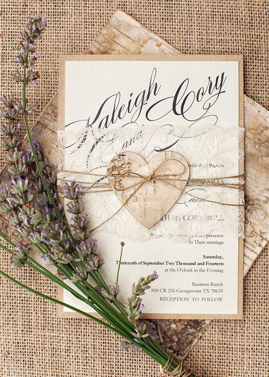 Rustic Lace Wedding Invitation, Heart Wedding Invitations, Birch Bark Wedding Invitation,