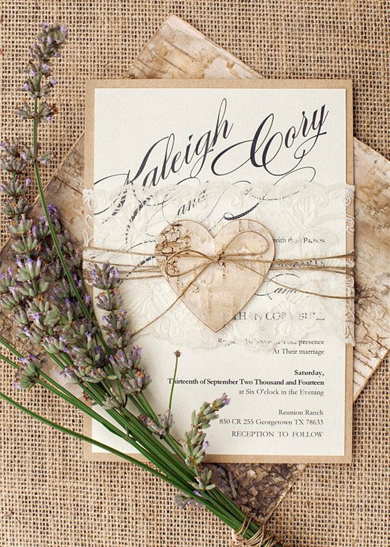 Rustic Lace Wedding Invitation, Heart Wedding Invitations, Birch Bark Wedding Invitation,