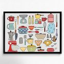 Lakásdekoráció kép, kerettel, ingynes szállítással: konyhai eszközök, Dekoráció, Kép, Mindenmás, Meska