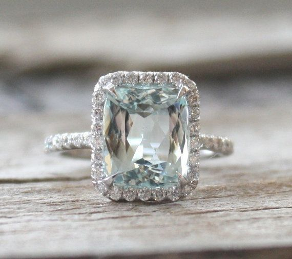 3.13 Radiant Aquamarine Halo Ring in 14K White Gold by Studio1040