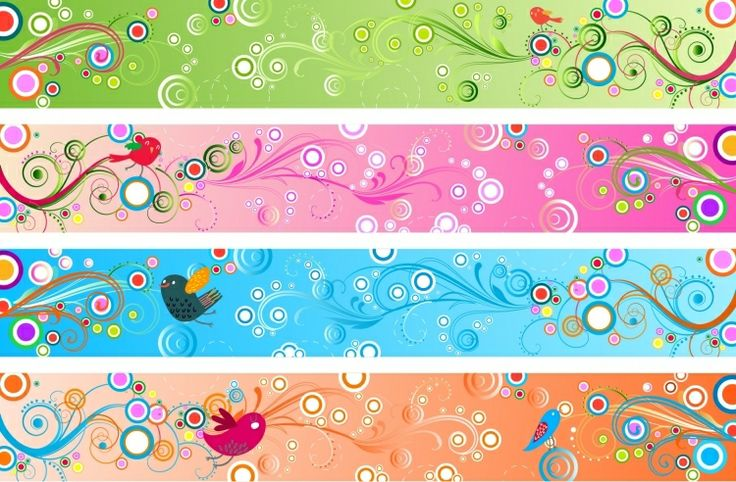 BANNER / Free vector Vector banner Retro Floral Banners