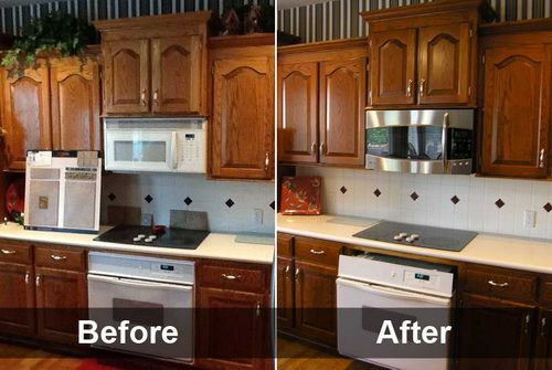 Before And After Restaining Kitchen Cabinets Painting