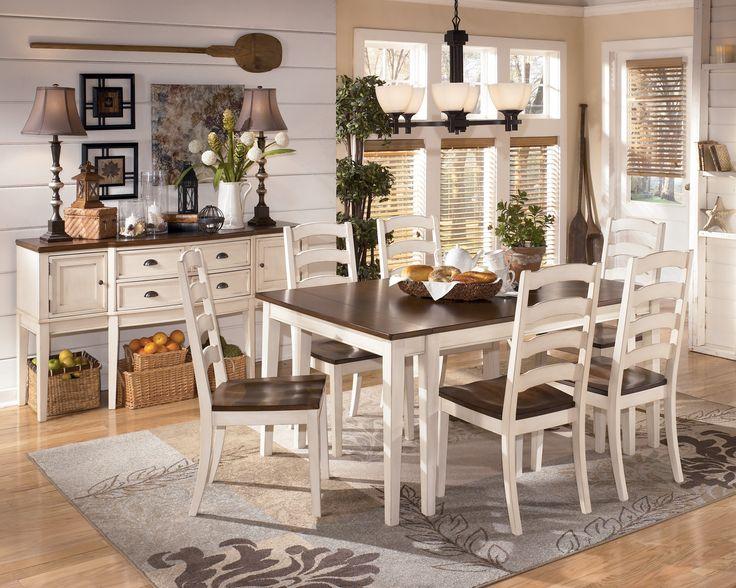 Whitesburg Two Tone Cottage Rectangular Extension Table Set By Signature Design Ashley