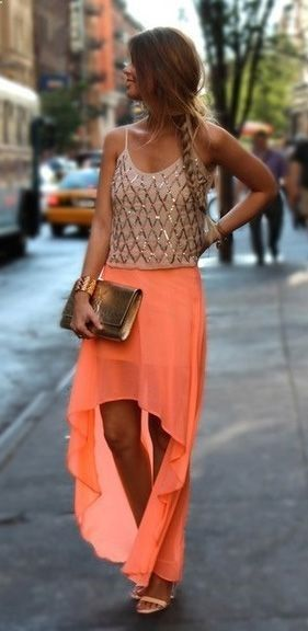This is a perfect summer night outfit! The bright orange skirt adds a awesome touch to the sparkly top!☺