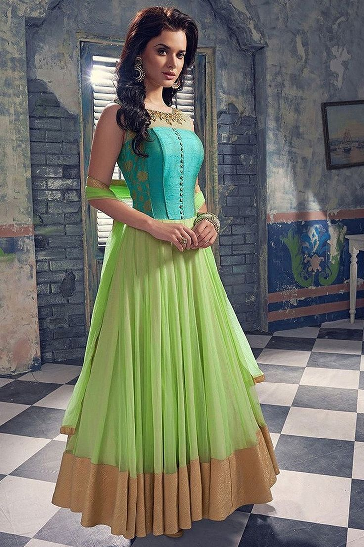 Georgette Lace Work Light Green Semi Stitched Long Anarkali Suit - 3014