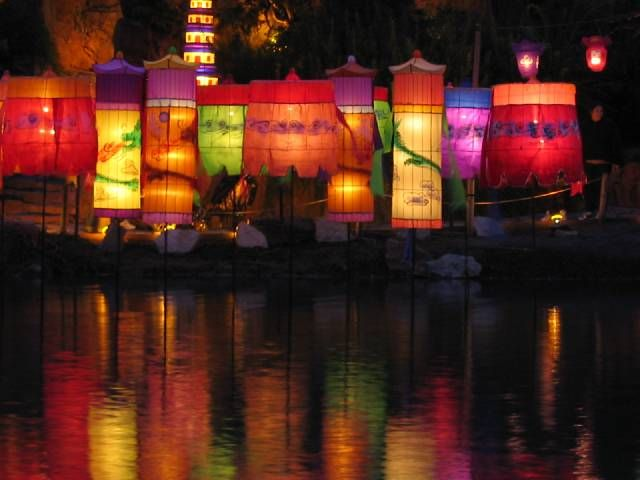 These colorful lanterns are beautiful and perfect for outside and for reflecting in the water. Not sure they'd work so well inside -- too visually distracting and people might think they were for sale rather than for lighting.