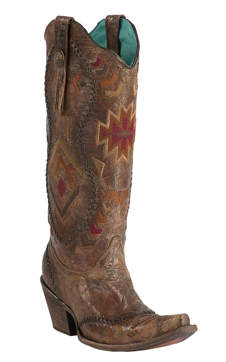 Corral Women's Vintage Cognac Crater with Aztec Embroidery Snip Toe Tall Western Boots   Cavender's