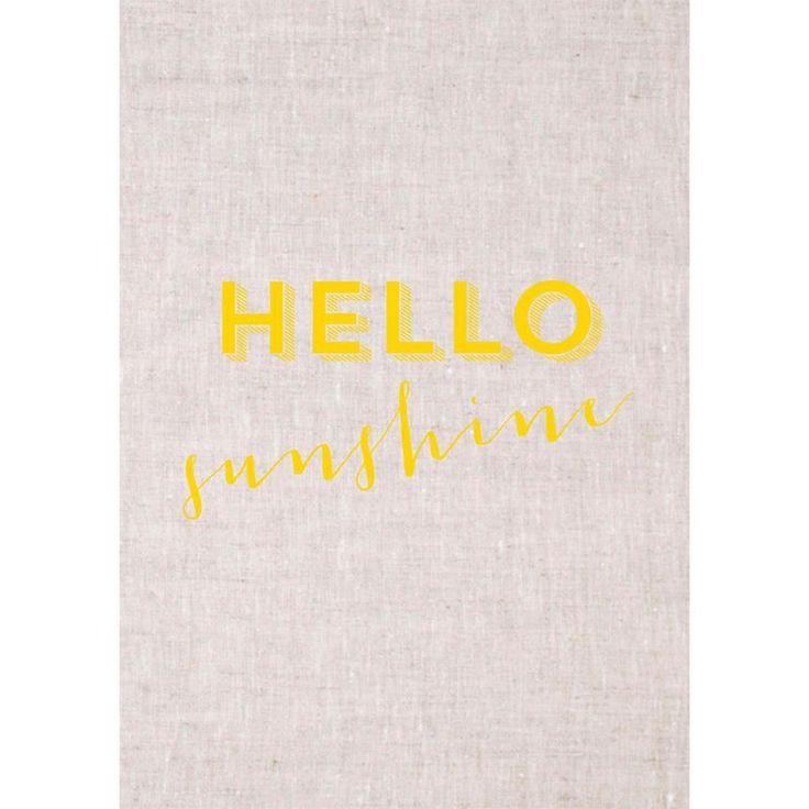 Hello Sunshine 100% Linen Tea Towel | The Block Shop - Channel 9