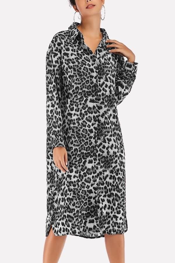 c95374cf85 Leopard Print Button Up Slit Hem Lapel Casual Chiffon Dress  054587   Long  Sleeve Dresses
