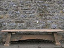 Wooden Bench OAK RUSTIC SOLID WOOD CHUNKY GARDEN FURNITURE UK HANDMADE