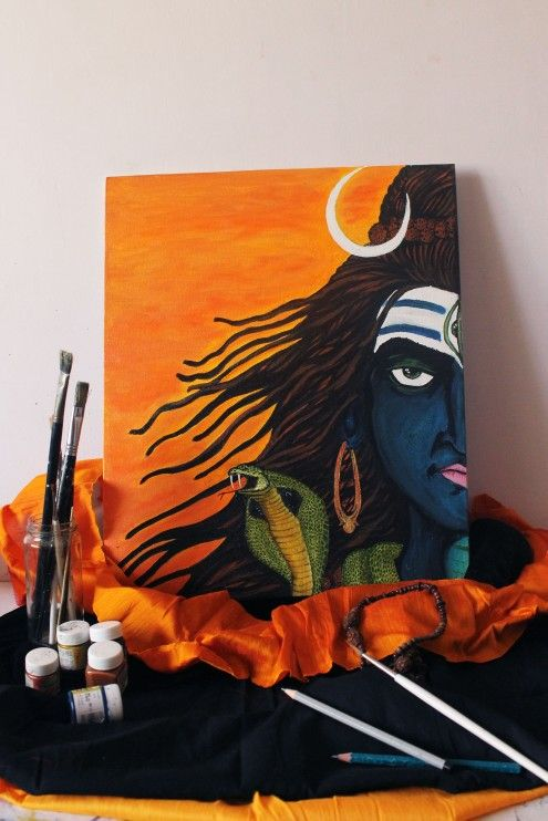 Shiva- Acrylic on canvas board my first creation on canvas..