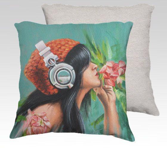 music on world off ,original art printed on pillow by artbysalmanasreldin on Etsy