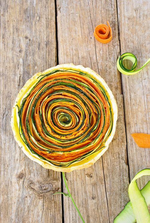"""Cette tarte est idéale pour accompagner vos salades et/ou surprendre vos proches ou vos amis. Elle est très simple à réaliser et délicieuse. Je me suis inspirée d'une recette tirée d'un magazine anglais (""""What liberty Ate magazine""""). Lorsque j'ai vu la..."""
