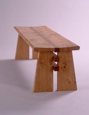 """Simple, sturdy, made of wood. This is """"John P Johnston's 'Pippy Oak bench'"""""""