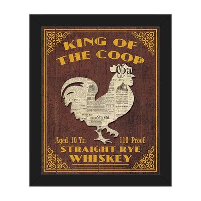 """Click Wall Art 'King of the Coop Brown' Framed Vintage Advertisement on Canvas Size: 22.5"""" H x 18.5"""" W x 1"""" D, Frame Color: Black"""