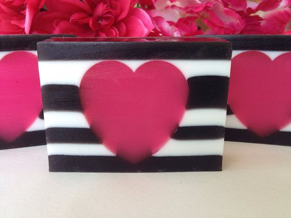 Love Spell   Glycerin Soap, Handmade Soap, Valentines Soap, Pink, Black And