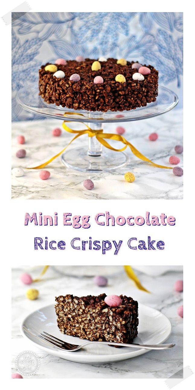 Mini Egg Chocolate Rice Crispy Cake - Fab Food 4 All #Easter #Mini Eggs #Cake #Birthday Cake #Mothers Day