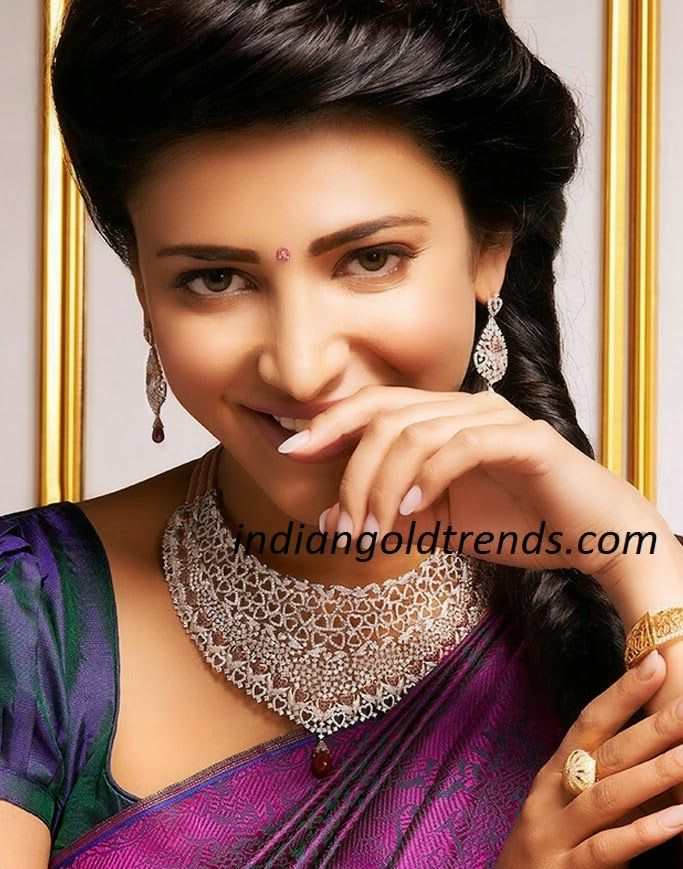 Latest Indian Gold and Diamond Jewellery Designs: Shruti Hassan in Bridal Diamond Necklace Set