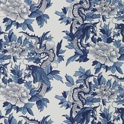 Nanking / Blue asian-upholstery-fabric. Sold b Calico