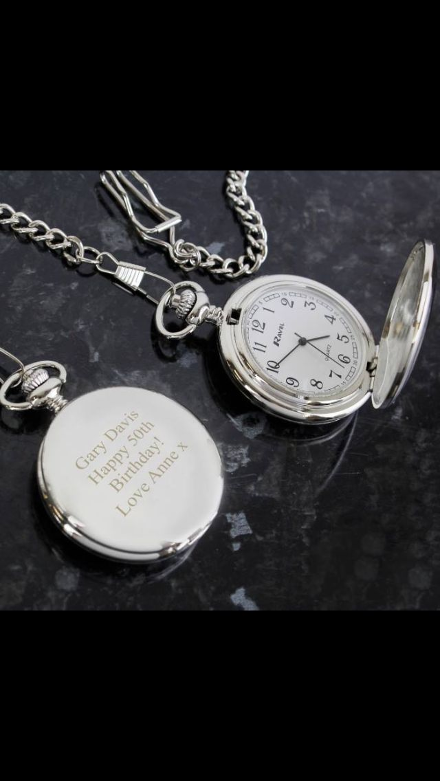 Personalised pocket watch. A message can be engraved on the front www.caleligifts.com